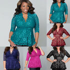 Fashion Womens V Neck 3/4 Sleeve Lace Shirt Casual T-shirt Tops Blouse Plus Size