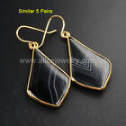5Pcs Howlite Turquoise/Agate/ Cat Eye/ Glass Dangle Earrinngs Gold Plated TWX054