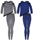 Girls Long Sleeved Cold Shoulder T-Shirt Legging Set New Kids Outfit 2-12 Years