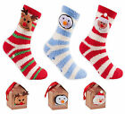 Ladies Christmas Winter Bed Socks New Womens Xmas Fleece Gripper Socks UK 4-8