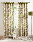 Green Cream Leaf Printed Curtains -Ring Top Ready Made Lined Eyelet Curtain Pair