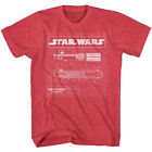 Star Wars Lightsaber Schematics Red Heather Adult T-shirt