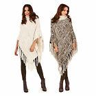 Boutique Womens Fringed Poncho Ladies Cable Knit Wraps Polar Neck Blanket Cape