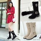 Winter Women's Round Toe Buckle Mid Calf Boots Fashion Girls Classic Zip Shoes