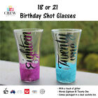 NEW Shot Glass 18th 18 21st 21 Birthday Party Personalised Gift Glasses Shots