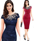 Women's Elegant rose Floral lace office work wear Cocktail party evening dress