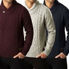 Threadbare Mens Jumper Perth New Pullover Shawl Neck Chunky Cable Knit Sweater