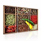INDIAN SPICE HERB PEPPER COLLAGE Canvas Framed Print ~ 3 Panels