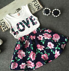 2pcs Nice Fashion Kids Baby Girls Love T Shirt Tops+Flower Skirt Clothes Outfit