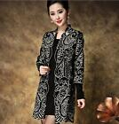Womens Ladies Embroidered Long coats Loose wool Jacket Floral Windbreaker New