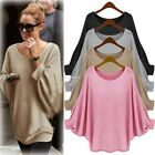 Oversized Womens Ladies Loose Long Sleeve Shirt Blouse Baggy Tops Batwing Jumper