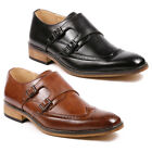Mens Double Monk Strap Perforated Wing Tip Slip On Loafers Fashion Dress Shoes