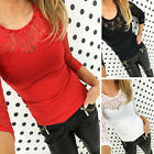 New Womens Long Sleeve Round Neck Plain Basic Ladies T-Shirt Tops Lace Tee