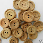 5 wooden round buttons flat with rim   2 holes sizes 19mm & 23mm
