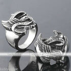 Stainless Steel Mens Punk Biker Live To Ride Eagle Finger Ring US 9/10/11/12 New