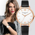 Fashion Womens Leather Band Stainless Steel Analog Quartz Bracelet Wrist Watches