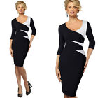 sexy Women's elegant office work wear balck&white pencil Cocktail party dress