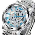 WINNER Luxury Stainless Steel Band Mechanical Hand-winding Skeleton Wrist Watch image