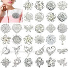 HOT JOB LOT SILVER DIAMANTE FLOWER PIN BROOCH WEDDING BOUQUET BRIDAL CAKE BROACH