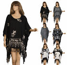 hand printed Tunic kaftan poncho Women Black White oversized 16 18 20 22 XL(BW)