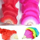 Hand Made Colorful Belly Dance Dancing Silk Bamboo Long Fans Veils 5 Colors EW