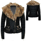 Women's Faux Fur Collar Side Zip PVC Stripe Mesh Lined Long Sleeve Biker Jacket