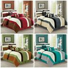 Luxury 7-piece Striped Microsuede with Leaf Embroidery Bedding Comforter Set