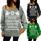 Plus Size S-2XL Celebs Womens Boat Neck Hooded Deer Merry Christmas Tops Shirts