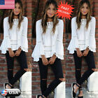 Women Long Sleeve Pullover Tops Shirt Ladies Casual Loose Blouse T-shirt White