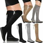 Womens Ladies Thigh High Low Flat Over The Knee Stretchy Boots Winter Shoes Size