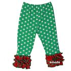 Girls Green Polka Dots Red Ruffle Icing Leggings Pants