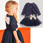 Fancy Baby Girls Party Star T-shirt Bow Tulle Skirts Tutu 2pcs Outfits Set Dress