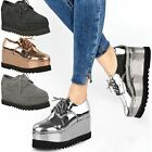 Womens Ladies Chunky Platforms Brogues Lace Up Vintage Flatforms Loafers Wedges