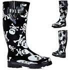 NEW WOMENS FLAT SKULL AND BONE FESTIVAL WELLIES KNEE HIGH RAIN BOOTS US 5 - 10