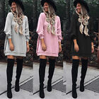 Casual Womens Tunic Sweatshirt Mini Dress Ladies Jumper Long Sleeve Pullover Top