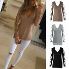 Fashion Womens Summer Long Sleeve Shirt Casual T-Shirt Loose Cotton Tops Blouse