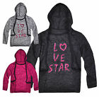Girls Slogan T-Shirt New Kids Long Sleeved Hooded Lightweight Top 3-12 Years