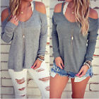Women Cotton Long Sleeve Strapless Tops Sweater Blouse Casual Sports T-shirt