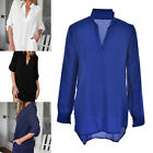 Plus Size Women Long Sleeve V-Neck Oversize Chiffon T Shirt Top Blouse Dress BK
