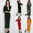 Fashion Knitting Women Long Sleeve Bodycon Dress V Neck Sweaters  Jumper Dress