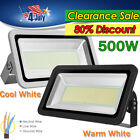 500W Cool/Warm White LED Flood Light Landscape Security Work Outdoor 110V IP65