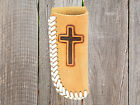 Leather CROSS ~KNIFE SHEATH~ Holder - Natural Leather-Laced Edge - Small Large