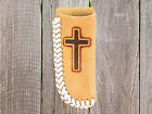 Leather CROSS ~KNIFE SHEATH~ Holder -Natural Leather-Laced Edge -Small Large 16