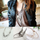 Womens Hollow Drop Multilayer Leaves Necklace Pendant Long Sweater Chain Jewelry