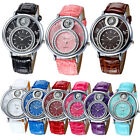 Womens Geneva Leather Band Stainless Steel Analog Quartz Dress Wrist Watch Sport