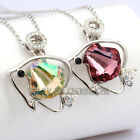 A3-P442 Fashion Rhinestone Shell Fish Necklace Pendant Charm 18KGP CZ Crystal