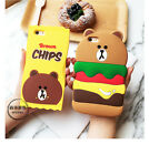 3D Line Friend Brown Chips Hamburger Silicone Case Cover For iPhone 7 7Plus 6 6s
