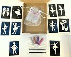 GLITTER TATTOO KIT BALLERINA PRINCESS SUPERHERO MYSTICAL stencils glitterS BOXED