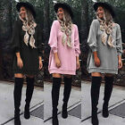 New Womens Blouse Cotton Long Sleeve Ladies T Shirt Casual Loose Mini Dress Tops