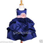 NAVY BLUE/PINK PICK UP FLOWER GIRL DRESS 6M 9M 12M 18M 2/2T 4 5/6/6X 8 10 12